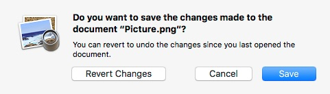 The modern macOS save prompt with Revert Changes